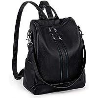 UTO Women Large Size Backpack Purse PU Washed Leather Double Front Zipper Ladies Rucksack Shoulder Bag Black