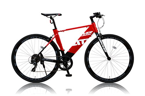 カノーバー クロスバイク 700C シマノ8段変速 CAC-026 (BEATRICE) ディープリム アルミフレーム フロントLEDライト付 レッド/ブラック