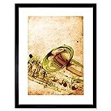Best サックスフォトフレーム - Music Illustration Brass Sax Saxophone Instrument Framed Print Review