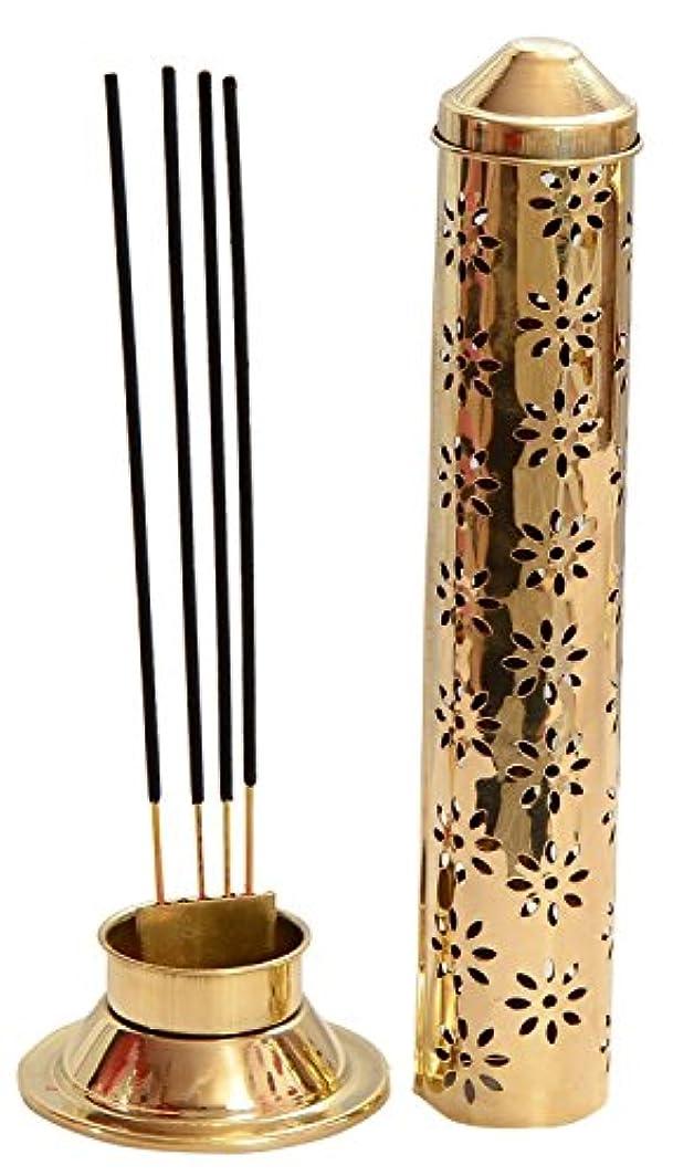 シットコム開示する気楽なCraftVatika Safety Incense Stick Holder Burner Metal Brass Handmade Agarbati Burner Ash Catcher Cone Cylindrical...