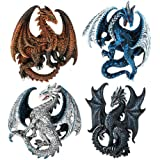 Dragon's Lair Ruth Thompson Set of 4 Collectible Sculptural Dragons Refrigerator Magnets Gift Decor by Pacific Giftware