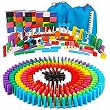 AISFA 積み木 ドミノ倒し 知育玩具480個 ギミック 仕掛け 40種セット 木製 カラフル こども 誕生日 プレゼント 並べる用道具と収納袋 セット