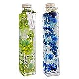 [フェリナス] ハーバリウム 角瓶(2本セット) グリーン(緑)&ブルー(青) 母の日 ギフト 贈り物 誕生日 記念日 kaku-green&blue
