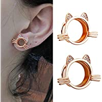 topbrighttrade Pair Flared Flesh Plugs and Tunnels for Ears Cute Kitten Ear Gauges Expanders