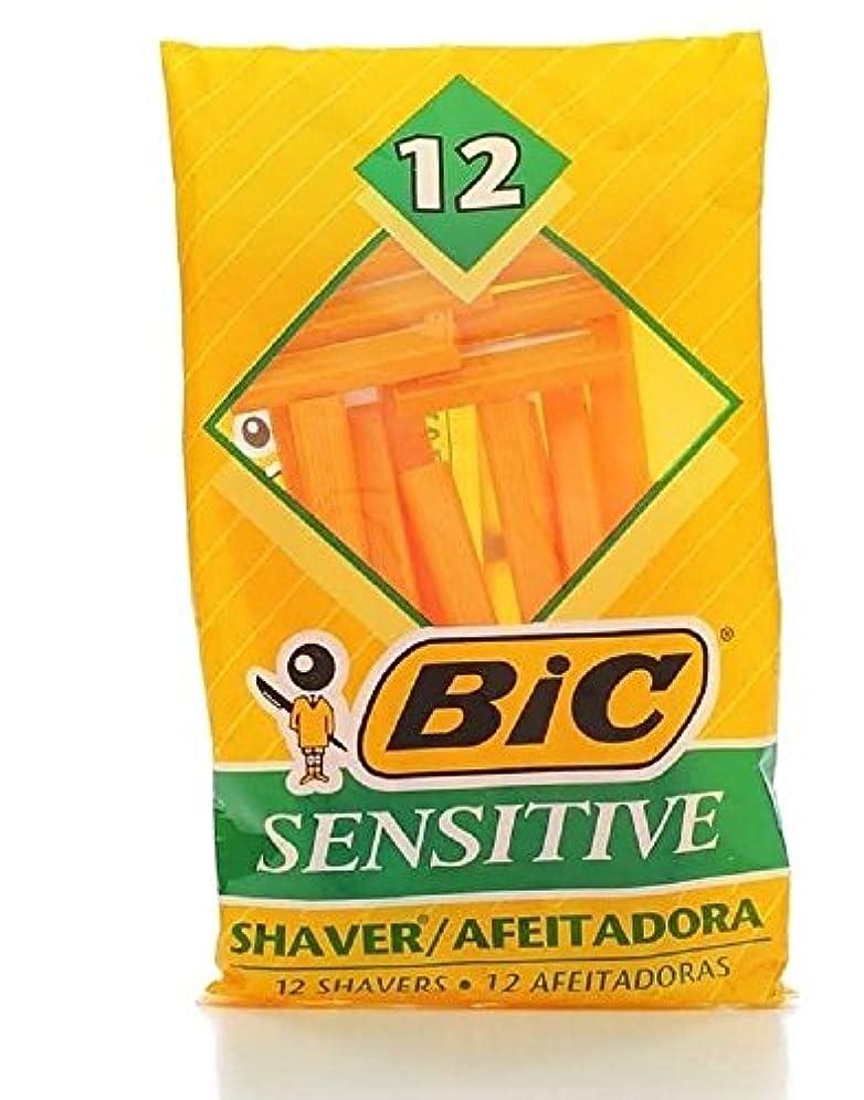 クリープ慢性的差別するBic Mens Sensitive Disposable Shaver 12 Count Each (Value Pack of 3) メンズDISP ShvrサンスSop121