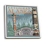 アラスカトーテムポール–ケチカン、アラスカ 4 Coaster Set LANT-13786-CT