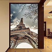 Xbwy カスタム青空エッフェル塔写真の壁紙ホテルのリビングルームの入り口の建物の3D壁画不織布防湿壁紙の3D-150X120Cm