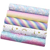 """David Angie Unicorn Printed Faux Leather Sheet Rainbow Color Glitter Synthetic Fabric Assorted 5 PCS 8"""" x 13"""" (20 cm x 34 cm)"""