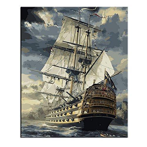 油絵 数字キット 手塗り MUNIZ デジタル油絵 DIY絵 40x50センチ 塗り絵 動物 風景 フレームレス (順風に帆をあげる)