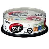 TDK データ用CD-R 700MB 32倍速対応 ホワイトプリンタブル 25枚ポットケース CD-R80EWX25PS