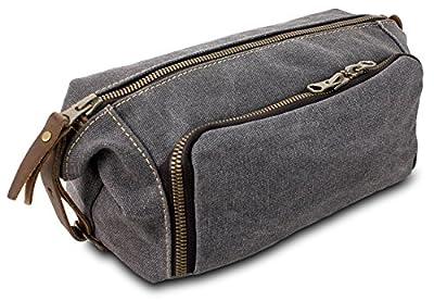 DOPP Kit Mens Toiletry Travel Bag YKK Zipper Canvas & Leather