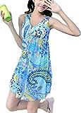 [笑顔一番] レディース 水着 ワンピース 花柄 リゾート ペイズリー柄 可愛い Aライン 体型カバー 大きいサイズ + シュシュ + スマホケース [A140-12] アクアブルー L