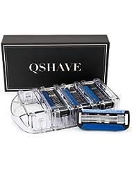 QSHAVEのX5 (5枚刃) カミソリ替刃カートリッジは、トリマーがドイツ製でQSHAVEブラックシリーズのカミソリにお使いいただけます。 (8つ入り)
