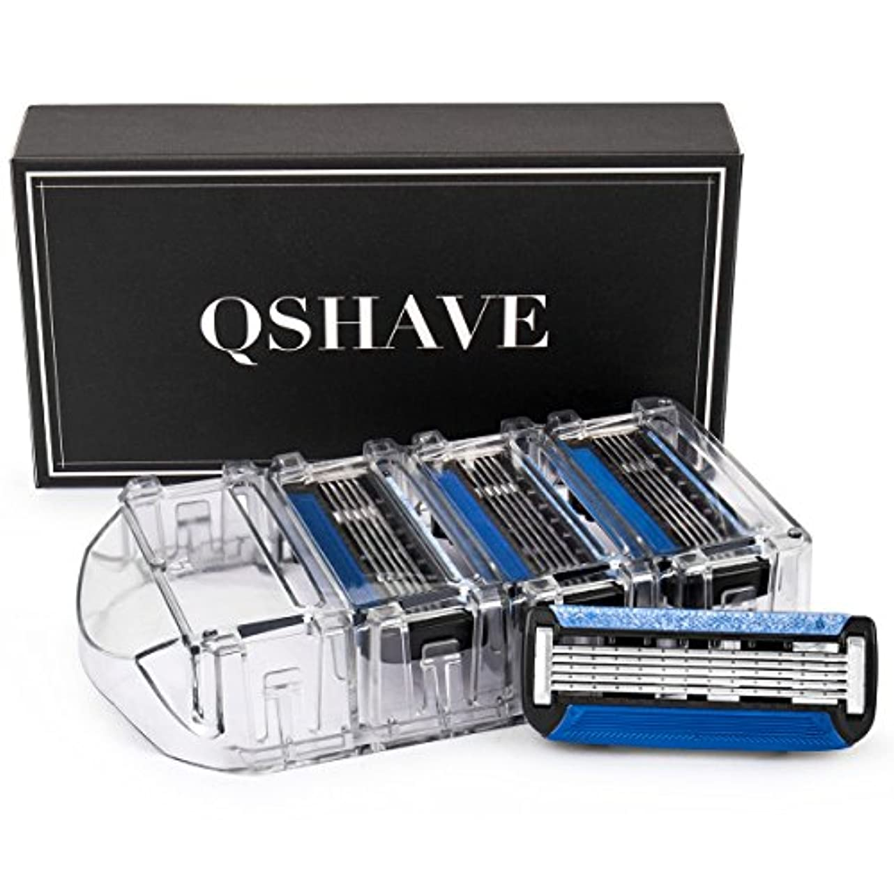 ピービッシュ住人靄QSHAVEのX5 (5枚刃) カミソリ替刃カートリッジは、トリマーがドイツ製でQSHAVEブラックシリーズのカミソリにお使いいただけます。 (8つ入り)