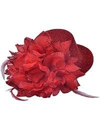 Perfeclan 全6色 ブライダル ダンスパーティー 女性 ミニハットクリップ 髪飾り エレガント 帽子 装飾 - 赤