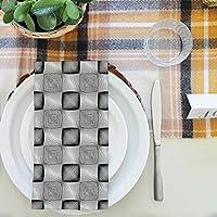 artzfolio Monochrome Squaresテーブルナプキンサテン生地 20inch x 20inch; SET OF 4 PCS AZKIT38392582NAP_TB_L_02-S4_SK