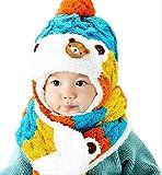 On Dolce 選べる4色 ニット帽 & マフラー ニット帽子 ベビー キッズ 赤ちゃん 子 子供 用 かわいい 防寒 BN004 (ブルー系)