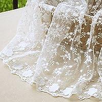 IRIZ 130 * 90cm花刺繍メッシュレースファブリック生地 ホワイト (Pattern A)