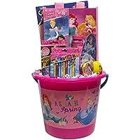 ジャンボプリンセスPremade Girl 's Easter Basket – カラーリングブック、パズル、トランプカード、Gummies、サングラス、ジャンプロープ、泡、Paper Dolls、トートバッグ、クレヨン、マジックタオル、ロリポップ、キャンディ
