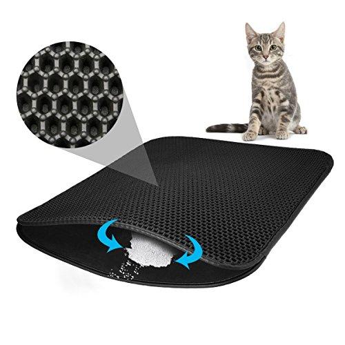 Focuspet 猫の砂取りマット 猫マット 猫砂マット 猫トイレ用品 防水 猫砂飛散防止 二重構造 猫のトイレマット 簡単クリーンホール 室内をキレイに保持する (約)75×55cm