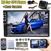 ダブル DIN Android/Apple カーステレオ - 7インチ タッチスクリーン ダッシュカーラジオ ビデオ マルチメディアプレーヤー Bluetooth/ミラーリンク FM/AUX/USB/SD + カメラ US