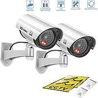 A-ZONE 防犯ダミーカメラ (銀) 2台 赤色LED 点滅 監視カメラ 電池式