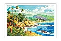 ラグナビーチとの愛 - カリフォルニア - シーサイドオーシャンビュー - オリジナルの水彩画からのもの によって作成された ロビン アルトマン - アートポスター - 76cm x 112cm