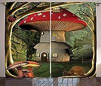 マッシュルーム装飾カーテンby Ambesonne、Shroom House in Enchanted Forest wihてんとう虫とカタツムリ気まぐれなツリーブランチ、リビングルームベッドルーム装飾、2パネルセット、108W x 84Lインチ