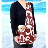 New Stylish Brown and White Art Pattern Outward Pet Sling Style Dog Cat Carrier -Small by Kakato