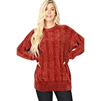 Sweaters for Women Round Neck Vertical Stripe Chenille Yarn Long Sleeve Sweater