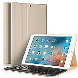 KuGi iPad 9.7 2017 キーボード 専用 Bluetooth キーボード ケース スタンド機能カバー Apple iPad 9.7インチ 2017モデル ワイヤレス 一体型 脱着式 手帳型 PUレザーケース付き 電池内蔵 持ち運び便利 無線キーボード 新型 iPad 9.7 2017 インチ Tablet 対応 (iPad 9.7 2017, ゴールド)