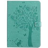 HONGYIBB ipad ミニ4 ケース ipad mini4 ケース おしゃれ 手帳 ブック型 ipad mini4 スマートカバー かわいい スタンドタイプ オートスリープ機能付き マグネット式 可愛い 木 猫 グリーン