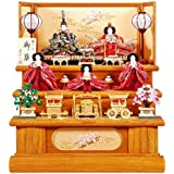 雛人形 五人揃三段飾り 【華】セット 27号(5人)[幅81cm] 欅木目塗[sb-2-19] 雛祭り