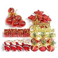 Haiyao 28個/箱クリスマスツリーキラキラ吊り飾り文字タグサンタスタージングルベルクリスマスの装飾 (Color : 赤)
