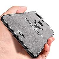 Oppo R11s Plus ケース, CHENXI 鹿の頭の模様 電話ケース マッチングデニムキャンバスPC + PU + TPU 二重構造強力 耐震ケース 衝撃防止 滑り止 全面保護 カバー ために Oppo R11s Plus - グレー
