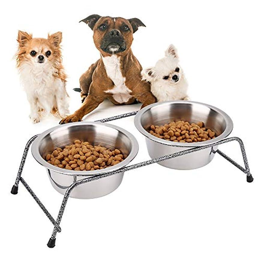 ペット用ダブルボウル、ステンレススチール製ペット用犬用ダブルフィーダー