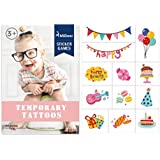 MiDeer Birthday Party Temporary Tattoo Stickers Sheets Christmas Holiday New Year Fun for Kids