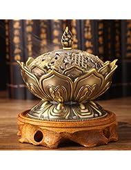 お香バーナー装飾アロマセラピー幸運ミニコレクションホルダー合金ホームクラフトストーブ圧力リリーフ(ブロンズ)