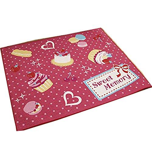 デスクカーペット「ケーキ」サイズ:110×133cmピンク(#4712609)デスクマット 女の子 学習机 ルームマット ラグ キッズラグ フロアラグ スイーツ 子供部屋 入学祝い