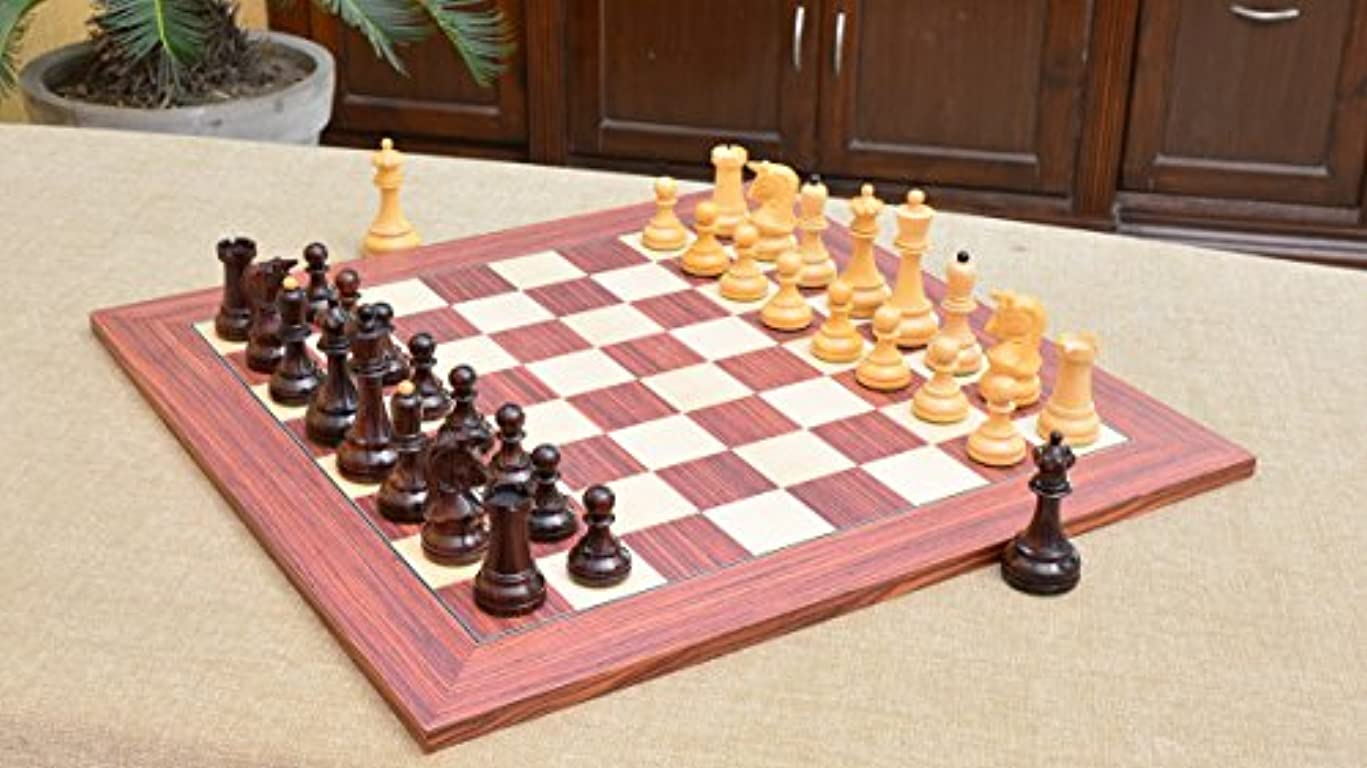Combo of Reproduced 1950 Dubrovnik Bobby Fischer Chess Pieces in Rosewood / Box Wood & Rosewood Maple Wooden Chess Board