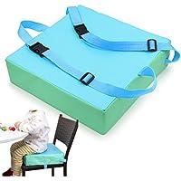 Sumnacon 食事 クッション こども 座布団 椅子用 クッション こども 高さ調節 チェアクッション 子供 ひも付き (グリーン+ブルー)