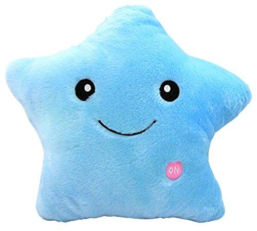 【Lucky Style】 LED 発光 光る クッション 抱き枕 スピーカー 付き 星型 水色 B