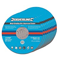 Silverline 224514メタルグラインディングディスク凹型センター、115 x 6 x 22.2 mm - 10枚入り