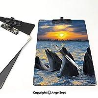 屋外スケッチポータブルスケッチクリップ 動物 ファイルボード (2個)日没の光でボトル鼻イルカの写真海の海の動物水生ブルーグレーオレンジ