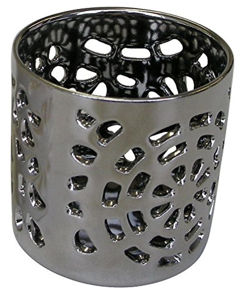 夢透ける電球マルエス 陶器製 燭台 月輪 シルバー