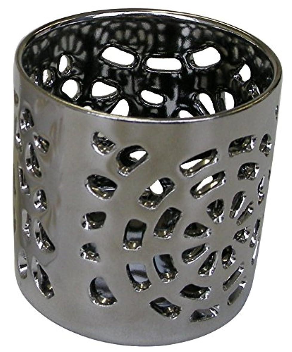 コアうま考案するマルエス 陶器製 燭台 月輪 シルバー