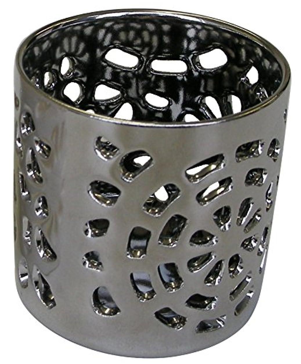逆更新するアンティークマルエス 陶器製 燭台 月輪 シルバー