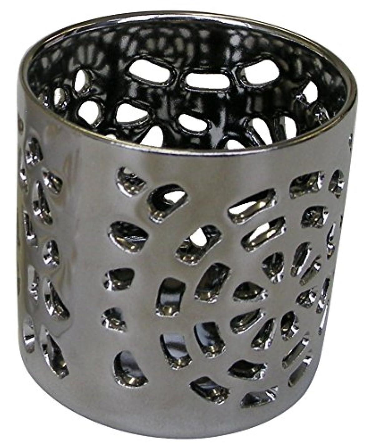 スライムネックレットの間でマルエス 陶器製 燭台 月輪 シルバー