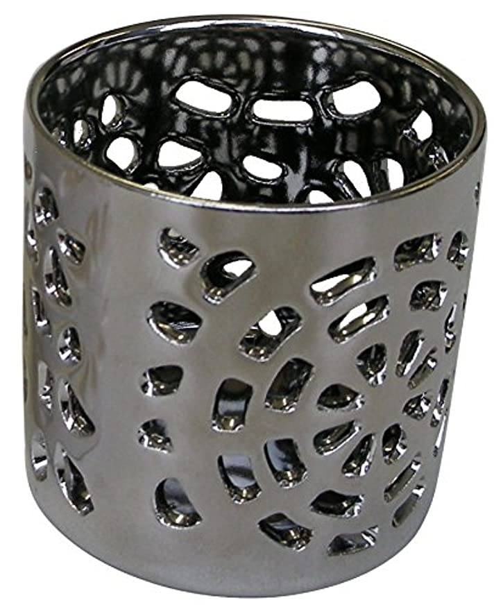 泥棒予防接種昇るマルエス 陶器製 燭台 月輪 シルバー