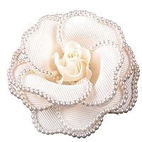 コサージュ フォーマル コサージュピン パールビーズで縁取りしたバラの形 ドレス 花 フラワー ベージュ ピンク (WHITE)